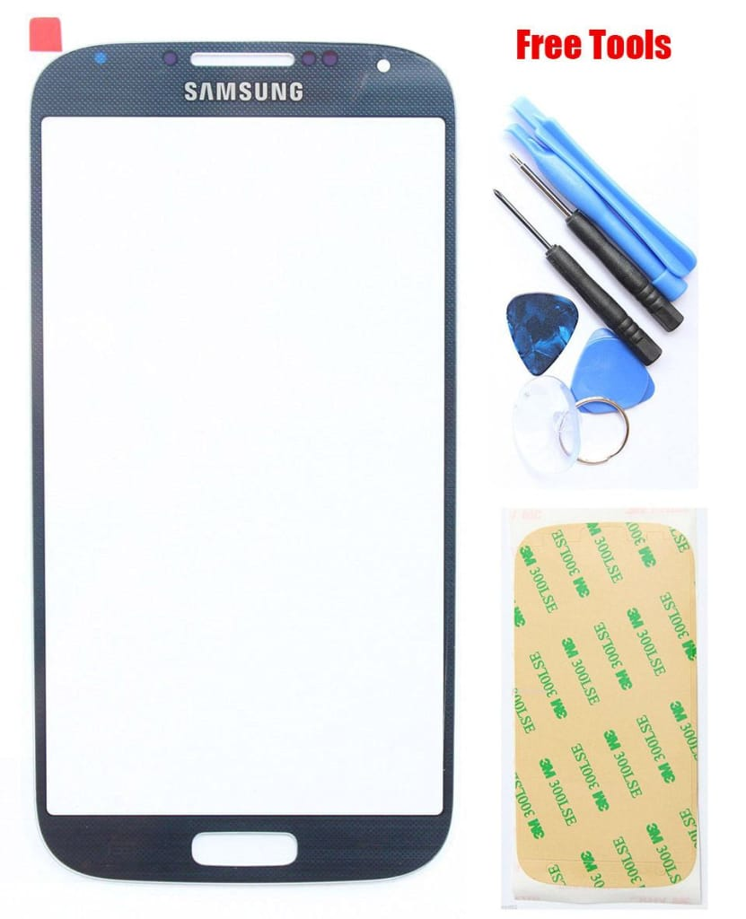 Samsung Galaxy S4 Blue Front Glass Lens with Adhesive and Free Tools Pic0