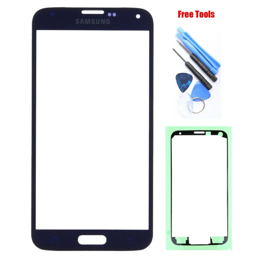Samsung Galaxy S5 Blue Front Glass Lens with Adhesive and Free Tools Pic0