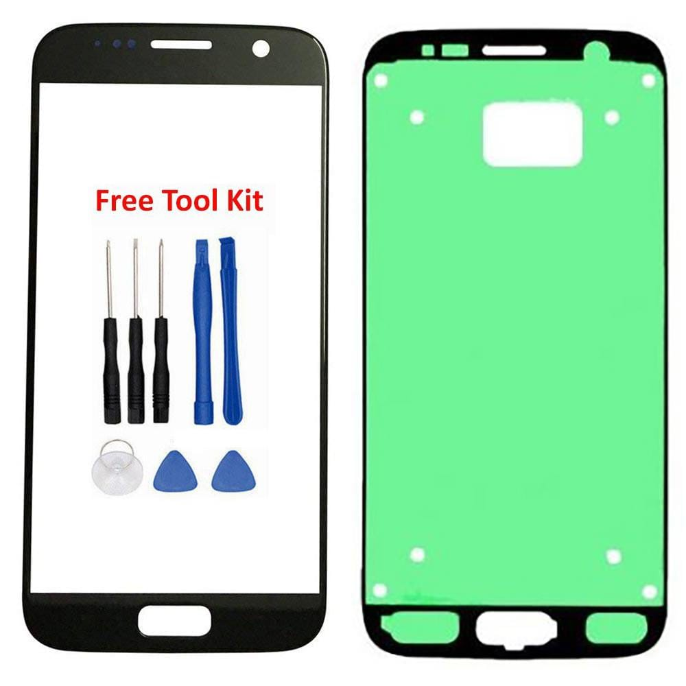 Samsung Galaxy S7 Front Glass Lens with Adhesive and Free Tools - Black Pic0