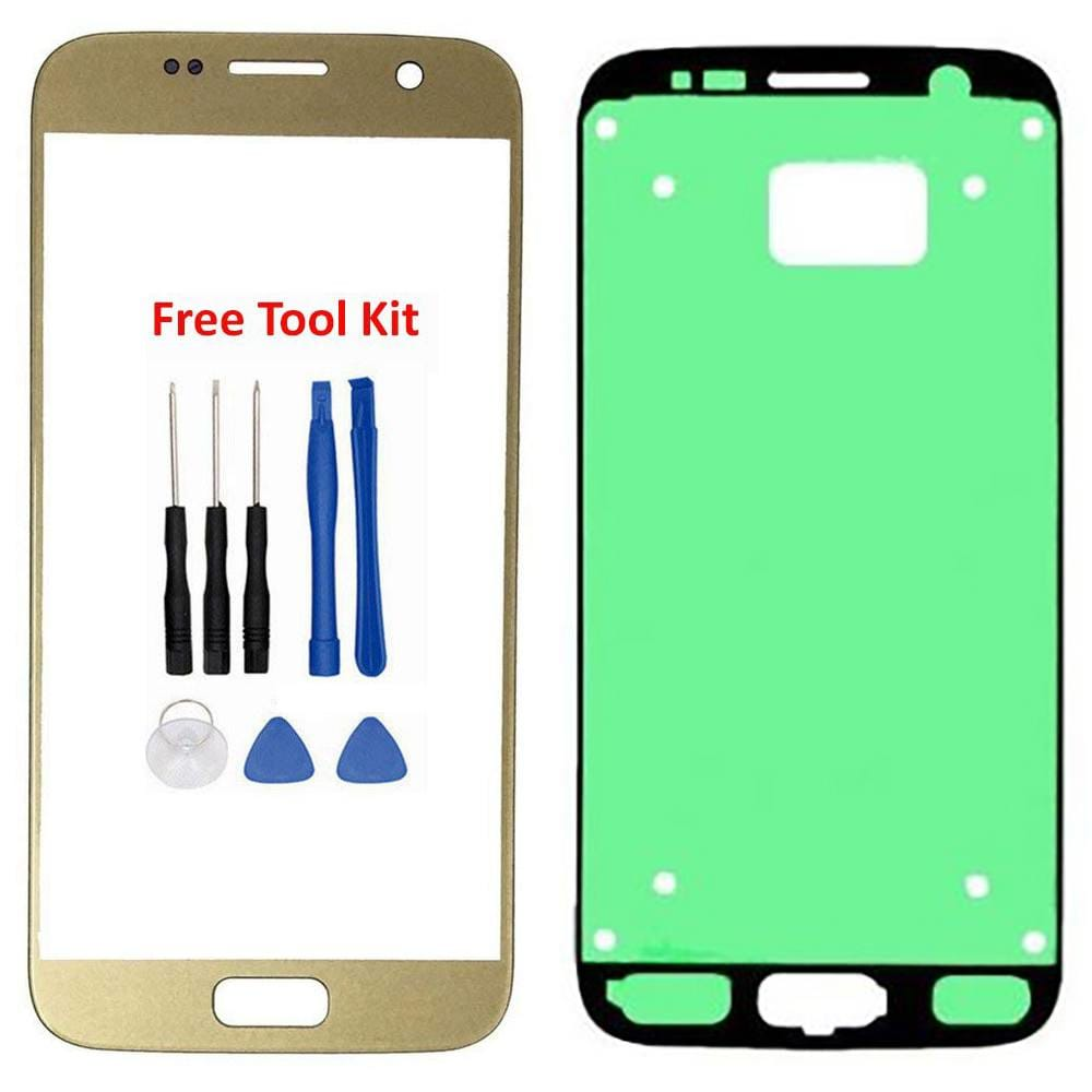 Samsung Galaxy S7 Front Glass Lens with Adhesive and Free Tools - Gold Pic0