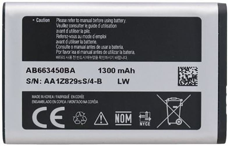 Original Samsung Battery AB663450BA 1300 mAh for Rugby 2 II A847, 3 III A997 Pic1