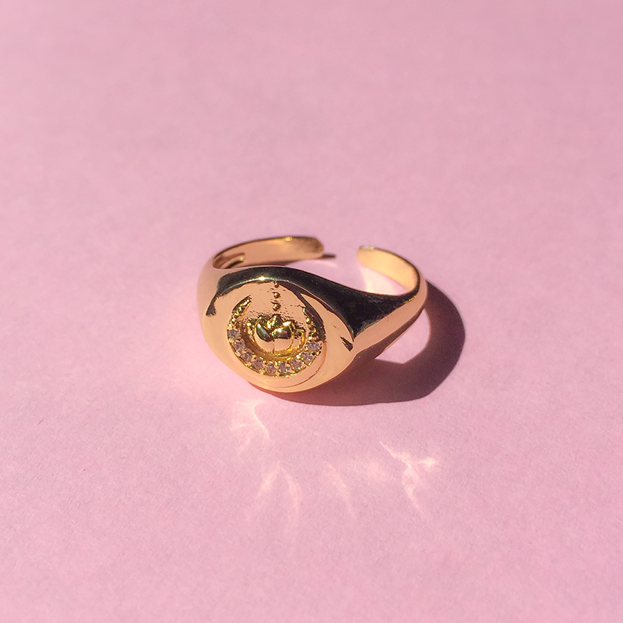 Crescent Lotus Signet Ring