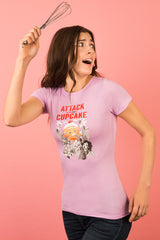 ZillaMunch Tee - Attack of the 50ft Cupcake - Women - Vintage Lilac