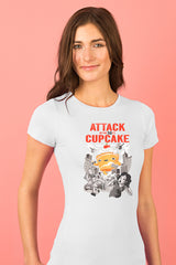 ZillaMunch Tee - Attack of the 50ft Cupcake - Women - Heather White