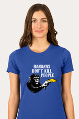ZillaMunch Tee -  Bananas Don't Kill People - Women - Royal