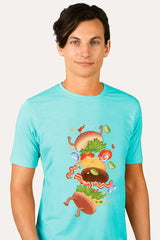 ZillaMunch Tee -  Burger Fail - Men - Tahiti Blue