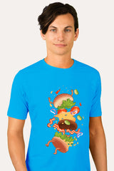 ZillaMunch Tee -  Burger Fail - Men - Turquoise