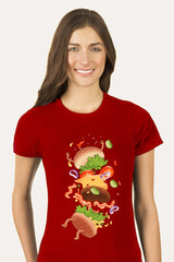 ZillaMunch Tee -  Burger Fail - Women - Red