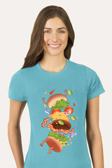 ZillaMunch Tee -  Burger Fail - Women - Tahiti Blue
