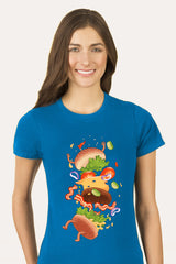 ZillaMunch Tee -  Burger Fail - Women - Turquoise