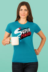 ZillaMunch Tee - Coffee Gives Me Super Powers - Women - Teal