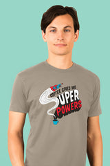 ZillaMunch Tee - Coffee Gives Me Super Power - Men - Stone Gray