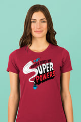 ZillaMunch Tee - Coffee Gives Me Super Power - Women - Scarlet
