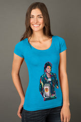 ZillaMunch Tee - King Of Pop - Women - Vintage Turquoise