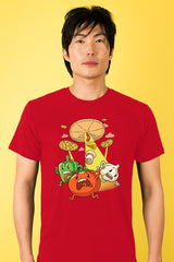 ZillaMunch Tee - Pizza UFO - Men - Red