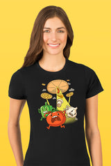ZillaMunch Tee - Pizza UFO - Women - Black