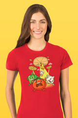 ZillaMunch Tee - Pizza UFO - Women - Red