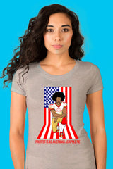 ZillaMunch Tee - Protest Is As American As Apple Pie - Women - Heather Gray