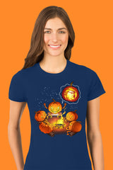 ZillaMunch Tee - Scary Trumpkin - Women - Cool Blue