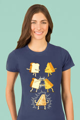 ZillaMunch Tee - Super Grilled Cheese - Women - Indigo