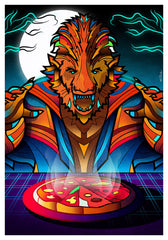 ZillaMunch Poster - Werewolf-N-Pizza - Orange