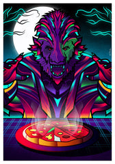 ZillaMunch Poster - Werewolf-N-Pizza - Purple