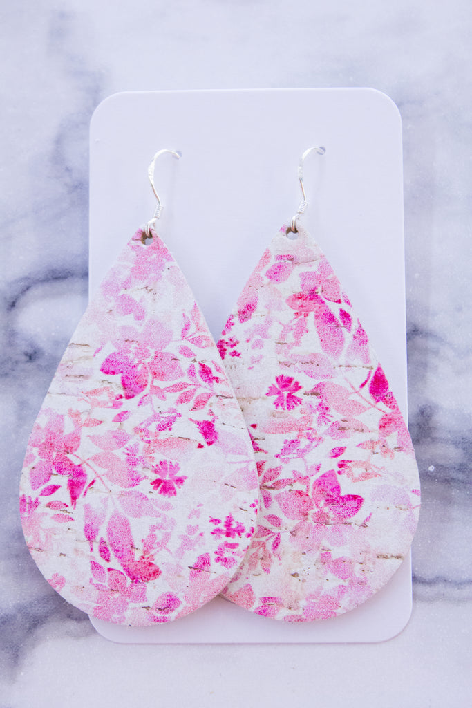 Pink Floral Jane & Cope Leather Earrings