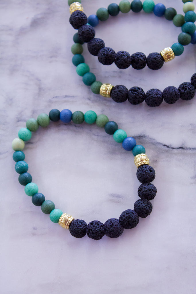 LavaStone Diffuser Bracelet: Mixed Greens + Black