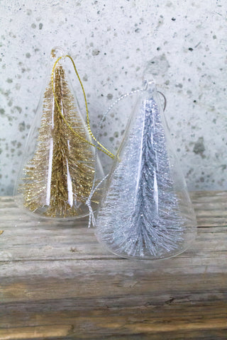 Golden Glitter Bottle Brush Trees