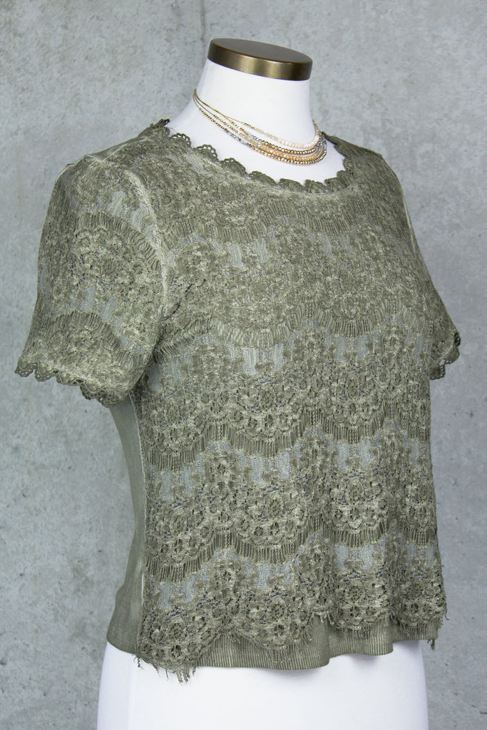 Olive Lace Tee
