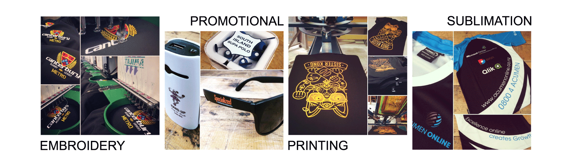 EMbroidery / Promotional Items / Screen Printing / Sublimation