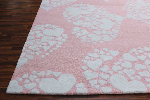 Hearts Pink Handmade Kids Floral Persian Style Wool Area Rug