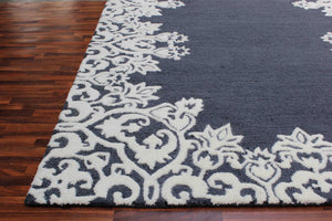 Laguna Blue White Kids 5 x 8 Floral Persian Style Wool Area Rug - TulipFiesta - 1