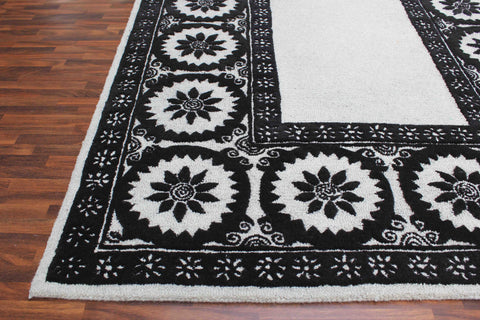 Wheels Black And White 5 x 8 Floral Persian Style Wool Area Rug - TulipFiesta - 1