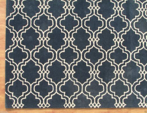 Moroccan Scroll Tile Indigo Blue Handmade Persian Style Wool Area Rug - TulipFiesta - 1