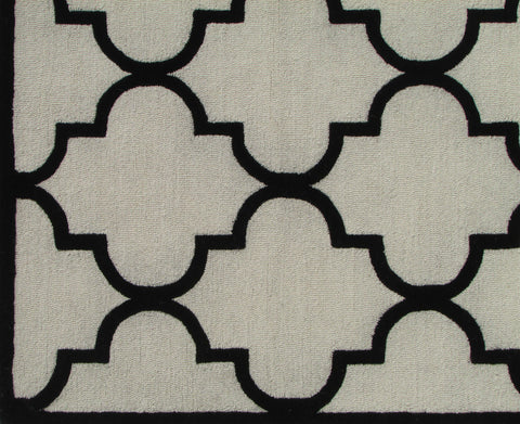 Blair Scroll Beige Black Handmade Persian Style Woolen Area Rug Carpet - TulipFiesta - 1