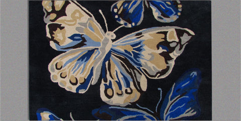 Butterfly Blue Handmade Floral Persian Wool 5 x 8 Living Room Area Rug