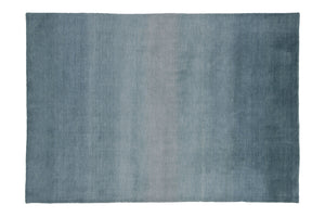 Aqua Blue Gradation Handmade Hand-Loom Modern Wool and Viscose Area Rug Carpet