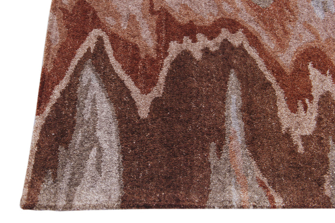 Abstract Brown Multi-Colored Handmade Modern Bamboo Silk Area Rug Carpet