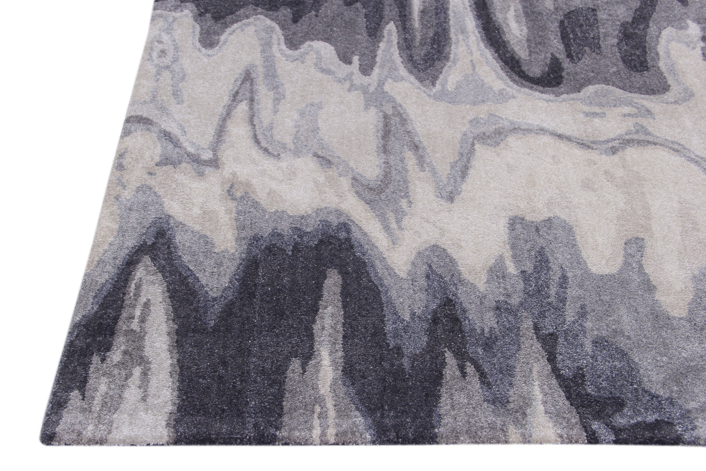 Abstract Grey Multi-Colored Handmade Modern Bamboo Silk Area Rug Carpet