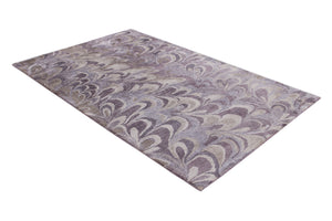 Abstract Purple / Brown Multi-Colored Handmade Modern Bamboo Silk Area Rug Carpet