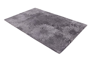 Abstract Charcoal Multi-Colored Handmade Modern Bamboo Silk Area Rug Carpet