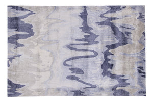 Abstract Blue / Brown Multi-Colored  Handmade Modern Bamboo Silk Area Rug Carpet