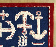 Load image into Gallery viewer, Boat and Anchor Rug Blue Handmade Persian Style 100% Wool Area Rug - TulipFiesta - 1