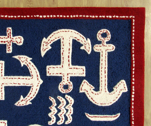 Boat And Anchor Rug Blue Handmade Persian Style 100% Wool Area Rug