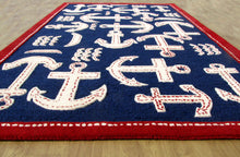Load image into Gallery viewer, Boat and Anchor Rug Blue Handmade Persian Style 100% Wool Area Rug - TulipFiesta - 3