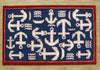 Boat and Anchor Rug Blue Handmade Persian Style 100% Wool Area Rug - TulipFiesta - 4