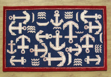 Load image into Gallery viewer, Boat and Anchor Rug Blue Handmade Persian Style 100% Wool Area Rug - TulipFiesta - 4