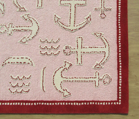Boat and Anchor Pink 5' x 8' Handmade Persian Style Wool Area Rug