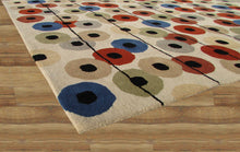Load image into Gallery viewer, Multi Colored Polka Dots Beige Handmade Persian Style Wool Area Rugs - TulipFiesta - 4